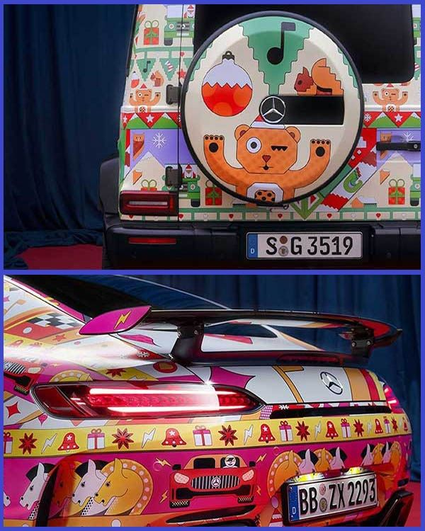 Mercedes-G-Wagon-SUV-and-Mercedes-AMG-GT-Coupe-with-Christmas-wrappings