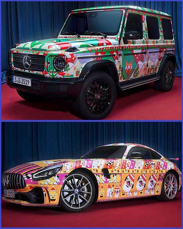 Photos-of-Mercedes-G-Wagon-SUV-and-Mercedes-AMG-GT-Coupe-with-Christmas-wrappings