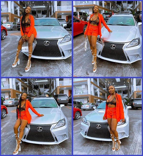Nigerian-social-media-influencer-Abike-Arab-Money-poses-with-her-new-Lexus-IS-250-sedan