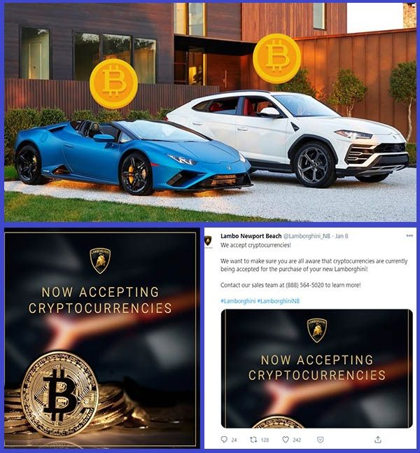 Cryptocurrencies-payment-advert-photo-shared-by-Lamborghini-dealer-in-Newport-Beach