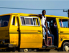 Lagos conductor acts as bonnet holder for moving Danfo bus