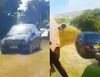 Illegally parked Mercedes C-Class gets covered in Poop on a farmer's field