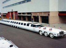 The world's longest car with a pool & a helicopter landing pad!