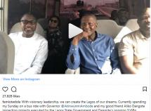 Femi Otedola, Governer Ambode and Aliko Dangote enjoys a bus ride together