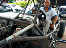 This Nigerian made a mini Jeep from local materials