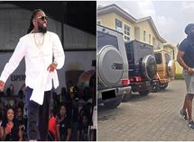 Timaya flaunts 3 Mercedes G-wagon cars in different colors