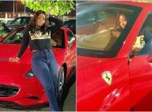 Regina Daniels toursAbuja in a brand new Ferrari