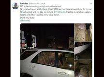 Man laments on safety in Abuja as his car got burgled at ATM within 12 minutes