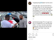 """Payback: MC Galaxy gifted Tspize a Mercedes Benz C300 for producing hit song """"Sekem"""""""