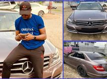 Social media influencer, ThePamilerin, poses with his new Mercedes-Benz C300