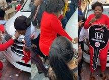 Anita Joseph sheds tears of joy as she wins brand-new Honda car