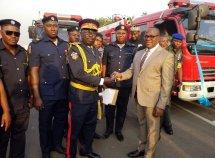 Enugu State Gov. Ugwuanyi presents 5 Innoson fire trucks to state fire service