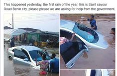 [Photo] First rainfall this year submerged man's car in Benin