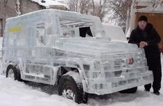 [Video] Drivable Mercedes-Benz G-Wagen made out of ice in Siberia