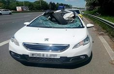 A detached 22.5-inch trailer tire crashed directly into a Peugeot car, leaving the driver unharmed