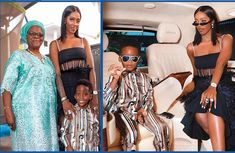 Tiwa Savage poses in her expensive Mercedes van with her son and mum