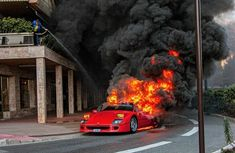 Expensive disaster! See how a ₦468m rare Ferrari F40 went up in flames in Monaco