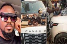 Film director's Range Rover turned into shop by belt seller at Computer Village