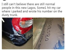 Man posted pictures of his car hit in his absence with culprit's phone number left