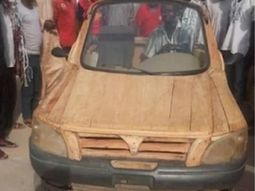 Nigerian builds a car himself purely with a motorcycle engine and wood