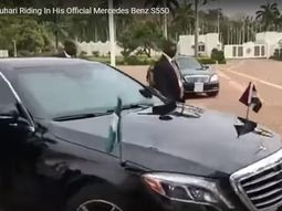 [Video] President Buhari is riding his Mercedes-Benz S550