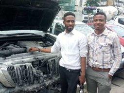 Nigerian man drives burning Toyota Prado to escape the inferno