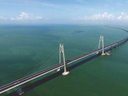 World's longest sea bridge that connects Mainland China with Hong Kong and Macau
