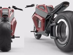 RMK E2- all-electric motorbike with spokeless rear wheel that can run 300km per charge