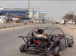 Nigerian man spotted driving a self-made car in Lagos
