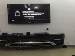 [Amazing] See the TV stand a Nigerian Man made from the bumper of a 2019 Mercedes Benz GLE