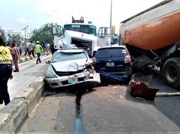 Multiple cars were involved in a recent accident at Lagos Palmgrove axis inward Anthony