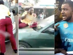 Lagos taxi driver speeds off with the LASTMA official on car bonnet