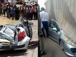 Container falls on Kenya woman's car moments she stepped out with her baby