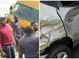 Look at how OAP Sensei Uche uses his Nissan Murano car to stop Danfo from falling off Third Mainland Bridge in Lagos