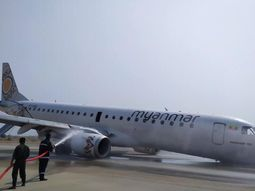 See how Myanmar pilot lands a faulty plane successfully without front wheels