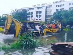 Flood at VP Yemi Osinbajo's Estate: Tractors are used to