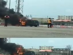 Bus in flames at Lekki Toll Gate, no injuries recorded