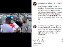 "Payback: MC Galaxy gifted Tspize a Mercedes Benz C300 for producing hit song ""Sekem"""