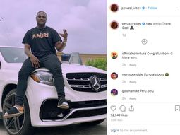 Peruzzi posed with brand new Mercedes Benz on Instagram