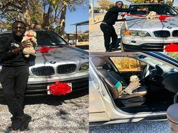 [Photos] Zambian Comedian Nkisu Yikona gifts his pet Puppy a brand-new BMW X5 SUV