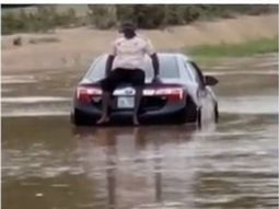 Stubborn Abuja driver gets his car stuck in flood (watch video)