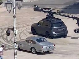 Street cam records James Bond's Aston Martin chased by Mercedes camera car