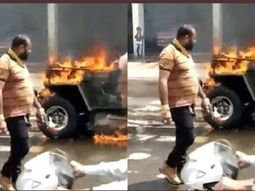 Indian man sets his Jeep on fire while friend recorded; both sent to jail