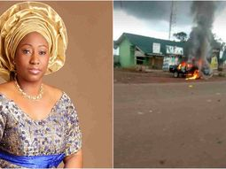 Convoy of wife of Ekiti governor attacked by hoodlums, 2 dead, police van burnt