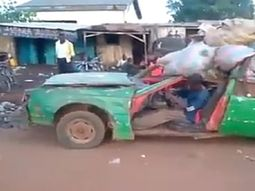 Only in Nigeria: the rickety car drives away with excess load (video)