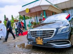 President Muhammadu Buhari in his Mercedes Maybach S560 before South Africa trip