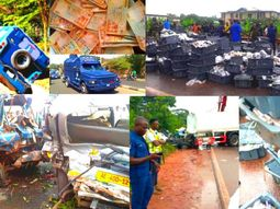 Dead and N4b cash scattered all over the road as Bank of Ghana van collides with tanker (watch video)