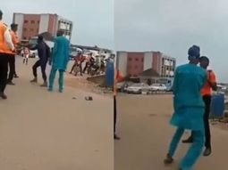 Captured: Angry pedestrians and traffic warden exchange hot blows in Ibadan