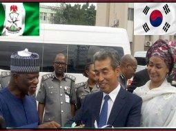 South Korean Embassy donates 2 new Hyundai buses to Nigeria Customs Service
