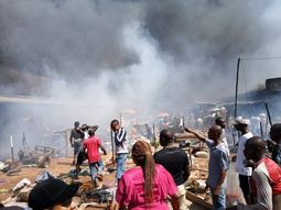 Buildings & shops destroyed in a tanker explosion in Onitsha